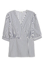 Wrapover cotton blouse - Natural white/Blue striped - Ladies | H&M IE 2