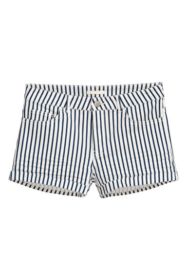 Short twill shorts - White/Blue striped - Ladies | H&M IE