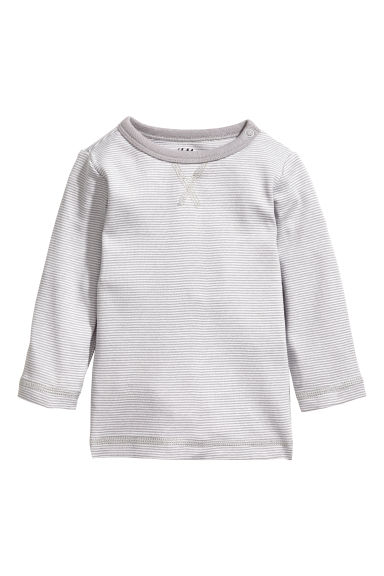 Jersey top - White/Grey striped - Kids | H&M