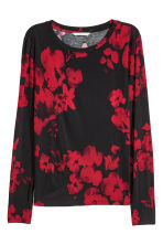 Long-sleeved jersey top - Black/Floral - Ladies | H&M CN 2