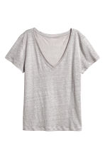 Linen top - Light grey -  | H&M 2