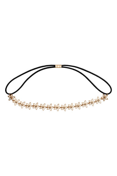 Hairband with metal flowers - Gold/Black -  | H&M 1
