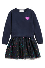 Dress with a tulle skirt - Dark blue/Hearts - Kids | H&M CN 2