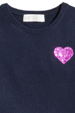 Fine-knit dress - Dark blue/Hearts - Kids | H&M CN 3