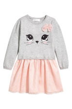 Fine-knit dress - Light grey/Cat -  | H&M 2