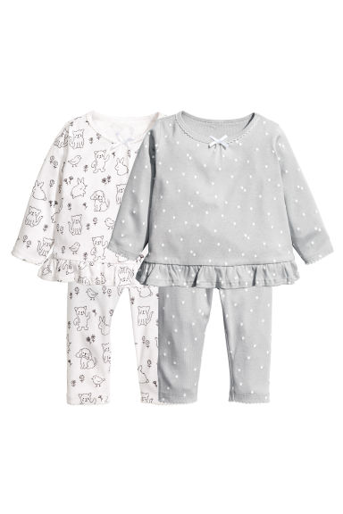 2-pack jersey pyjamas - Grey/Spotted - Kids | H&M 1