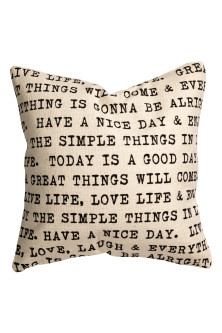Cushion cover with text print