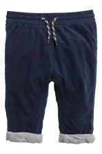 Fully lined corduroy trousers - Dark blue -  | H&M 1