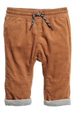 Fully lined corduroy trousers - Camel -  | H&M 1