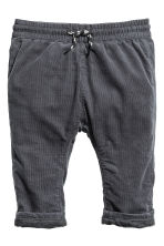 Fully lined corduroy trousers - Dark grey -  | H&M 1
