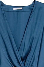 Long satin dress - Dark blue - Ladies | H&M 3