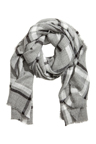 Large scarf - Grey/Checked -  | H&M