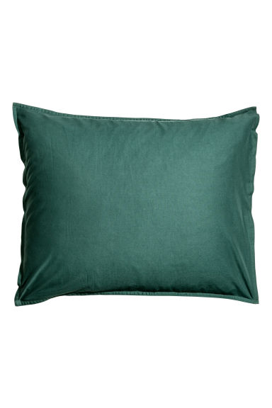 Washed cotton pillowcase - Dark green - Home All | H&M CN 1