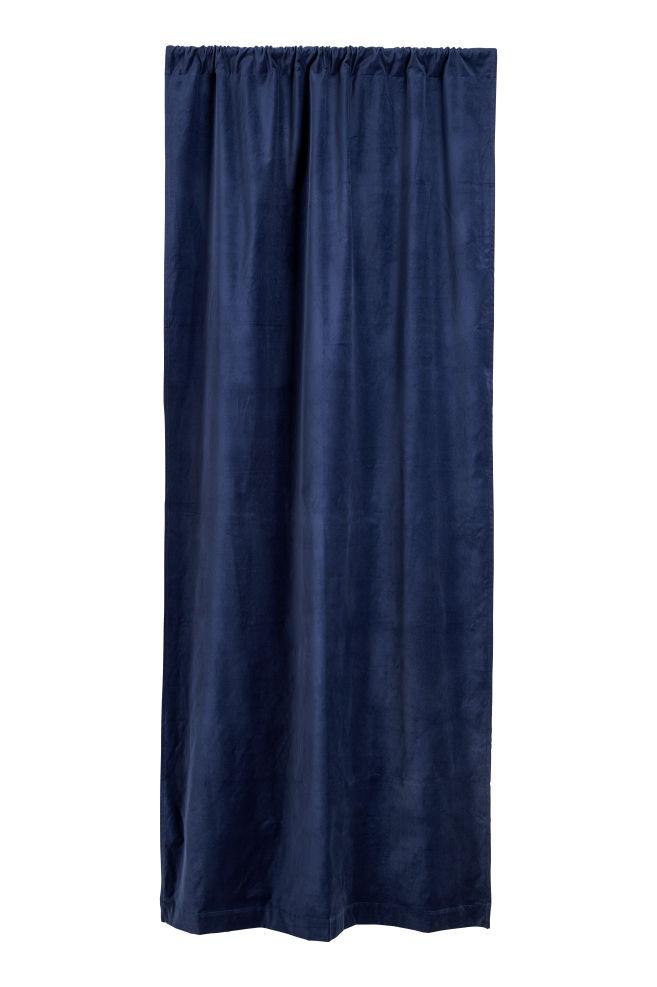 Fluwelen gordijn - Donkerblauw - | H&M NL