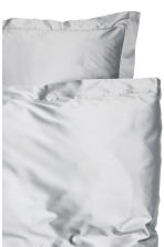 Cotton satin duvet cover set - White/Anthracite grey -  | H&M IE 3