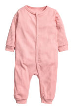 Ribbed all-in-one pyjamas - Light pink - Kids | H&M 1