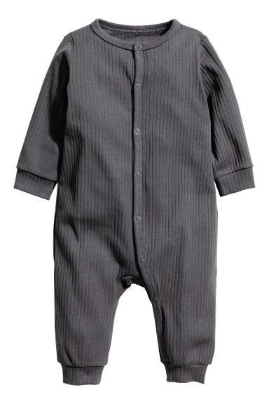 Ribbed all-in-one pyjamas - Dark grey - Kids | H&M