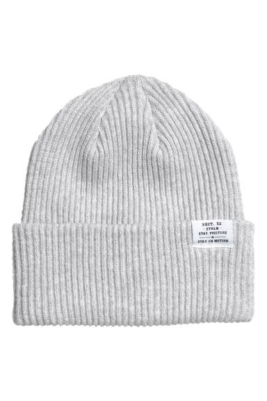 Rib-knit hat - Light grey marl - Ladies | H&M IE 1