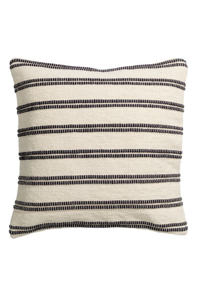 Jacquard-weave cushion cover - White/Striped - Home All | H&M CN 1