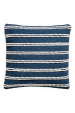 Jacquard-weave cushion cover - Dark blue/Striped - Home All | H&M CN 1