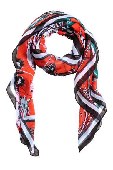 Patterned scarf - Red/Zebra -  | H&M GB 1