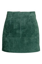 Short suede skirt - Dark green -  | H&M CA 2