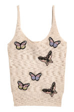 Fine-knit top - Beige/Butterflies - Ladies | H&M 2