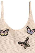 Fine-knit top - Beige/Butterflies - Ladies | H&M 3