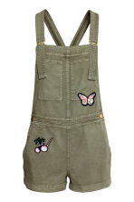 Lyocell dungaree shorts - Khaki green/Butterflies - Ladies | H&M CN 2