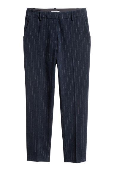 Pantalon cigarette - Bleu foncé/scintillant/rayures - FEMME | H&M FR
