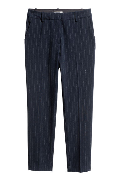 Cigarette trousers - Dark blue/Glittery streak - Ladies | H&M CN