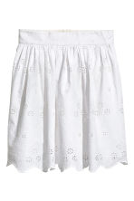 Embroidered cotton skirt - White - Ladies | H&M 2