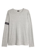 Printed long-sleeved T-shirt - Grey marl - Men | H&M CN 2