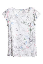 Jersey top - White/Floral - Ladies | H&M 2