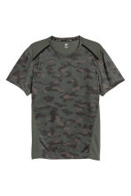 Short-sleeved sports top - Khaki green/Patterned - Men | H&M 2