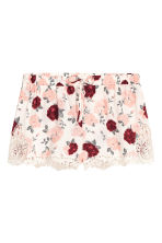 Shorts with lace details - Natural white/Floral - Ladies | H&M CN 2
