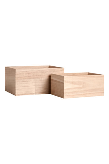 Boîtes en bois, lot de 2 - Naturel - Home All | H&M FR