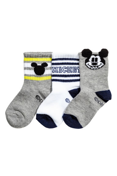 3-pack socks - Grey/Mickey Mouse - Kids | H&M 1
