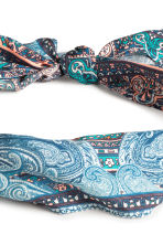 Patterned hair scarf - Dark blue/Paisley -  | H&M CN 2