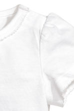 Puff-sleeved jersey top - White - Kids | H&M CA 2
