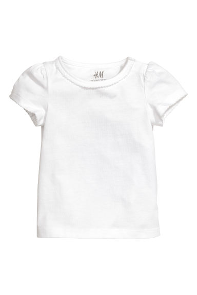Puff-sleeved jersey top - White - Kids | H&M CA