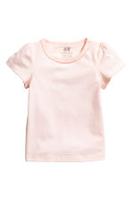 Puff-sleeved jersey top - Powder pink -  | H&M CN 1