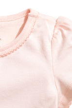 Puff-sleeved jersey top - Powder pink -  | H&M CN 2