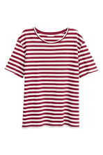 T-shirt in cotone - Bordeaux/righe - DONNA | H&M CH 2