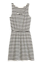 Sleeveless jersey dress - White/Striped - Ladies | H&M 2