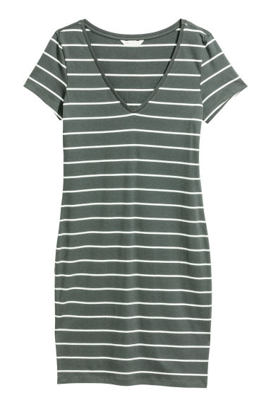 Short jersey dress - Grey-green/White striped -  | H&M CN