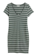 Short jersey dress - Grey-green/White striped - Ladies | H&M 2