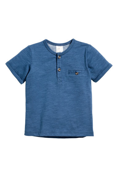 T-shirt with buttons - Blue marl - Kids | H&M