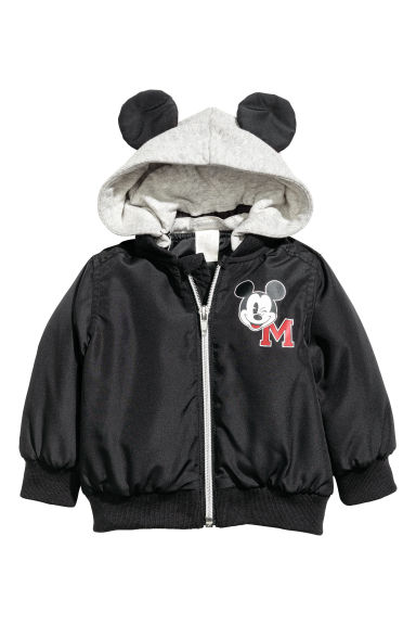 Bomber jacket with jersey hood - Black/Mickey Mouse - Kids | H&M CA
