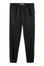 Brushed cotton twill joggers - Black - Men | H&M 2